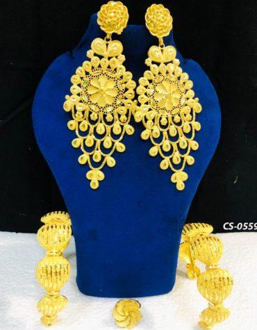 2 Gram Jewellery Gold Plated Earrings And Bracelets Set For Women