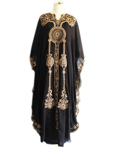 Latest Moroccan Style Golden Heavy Embroidery Dresses for Women