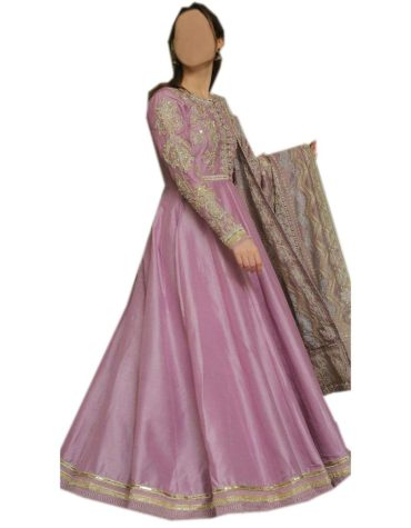 New Silver Embroidered Beautiful Full Sleeves Anarkali Frock For Women