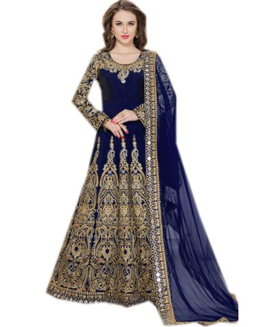 Latest Fashion Golden Embroidered Full Sleeves Anarkali Frock For Women