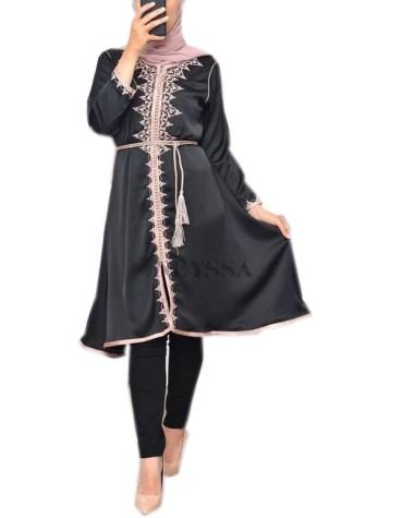 Women's Latest Designer Moroccan Embroidered Wear Tunic Satin Dress