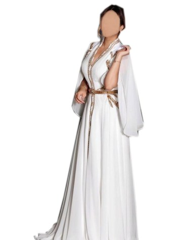 New Elegant Simple Beaded Work Slit Sleeves Party Gown For Women