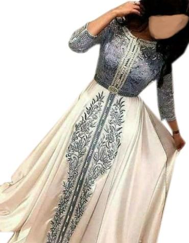 Satin Silk Grey Lace Work Full Sleeve Prom Dress For Women