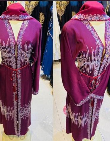 Formal Fancy Wedding Party Rainbow Rhinestone Beaded Full Sleeves Long Shrug Abaya