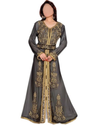 Front Slit Long Sleeves Jacket Kaftan With Beaded Work For Women