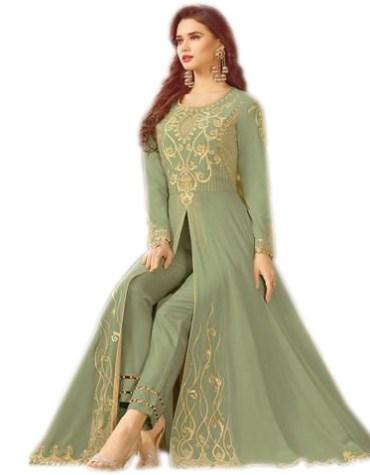 New Golden Embroidered Long Sleeves Anarkali For Women