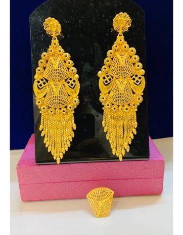 African 2 Gram Gold Wedding Party Wear Earrings & Ring Set for Women