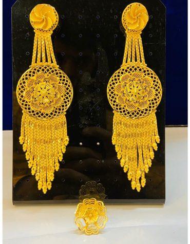 Elegant 2 Gram Gold Wedding Party Wear Earrings & Ring Set for Women