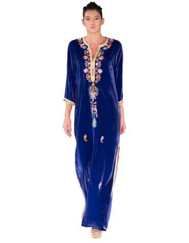 New Coloured Floral Embroidered Velvet Designer Kaftan For Women