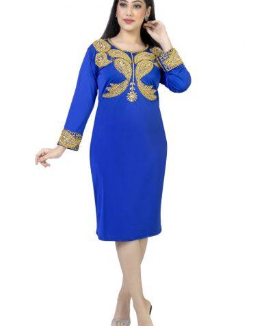 Designer African Golden Beaded Knee Length Spandex Dress For Women