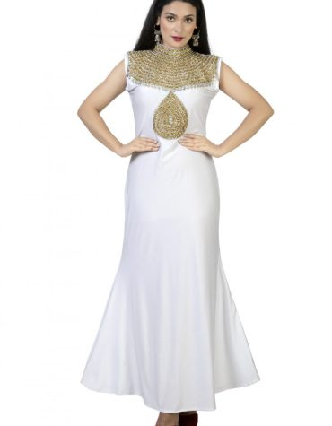 Golden & Silver Crystal Beaded African Spandex Maxi For Women