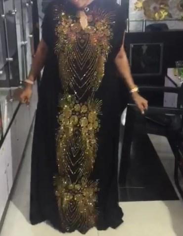 Beautiful Latest Golden Rhinestone Work With Split Sleeves Kaftan for Women