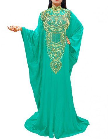 Trendy Lycra Plus Size Beaded Moroccan Kaftans African Dresses For Women