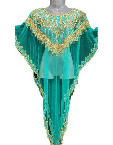 Gold Crystal Beaded Beach Wear Plus Size Kaftan Dresses for Women