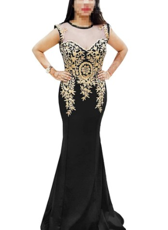 Elegant Bodycon Party Wear Golden Embroidered Dress For Women