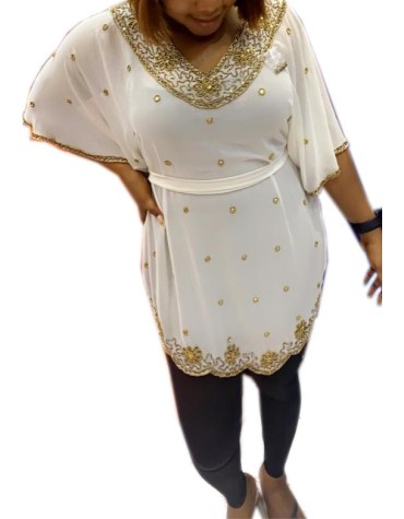 Latest Golden Beaded Half Sleeves With Belt Poncho for Women