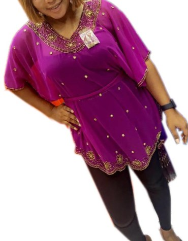 New Gold Beaded Half Sleeves Stylish Poncho Dresses for Women