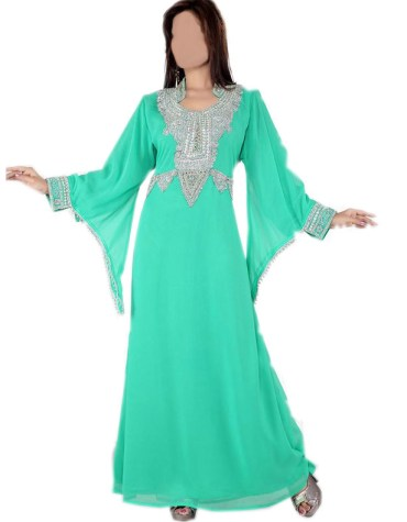 New Cuffed Long Sleeves With Silver Stone Work Kaftan For Women