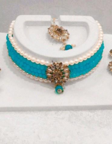 Kundan Pearl Fancy Choker Necklace Set with Earrings for Women