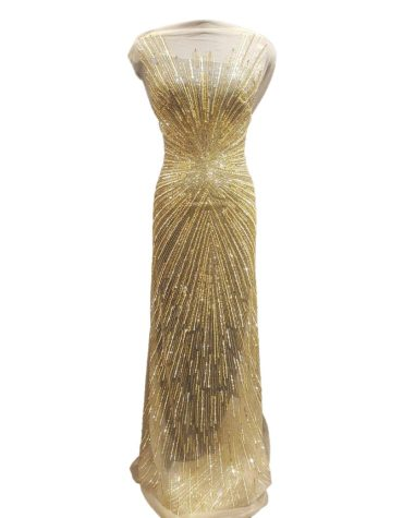 Latest Nigerian George African Gold & Silver Sequin Beaded Gown For Women