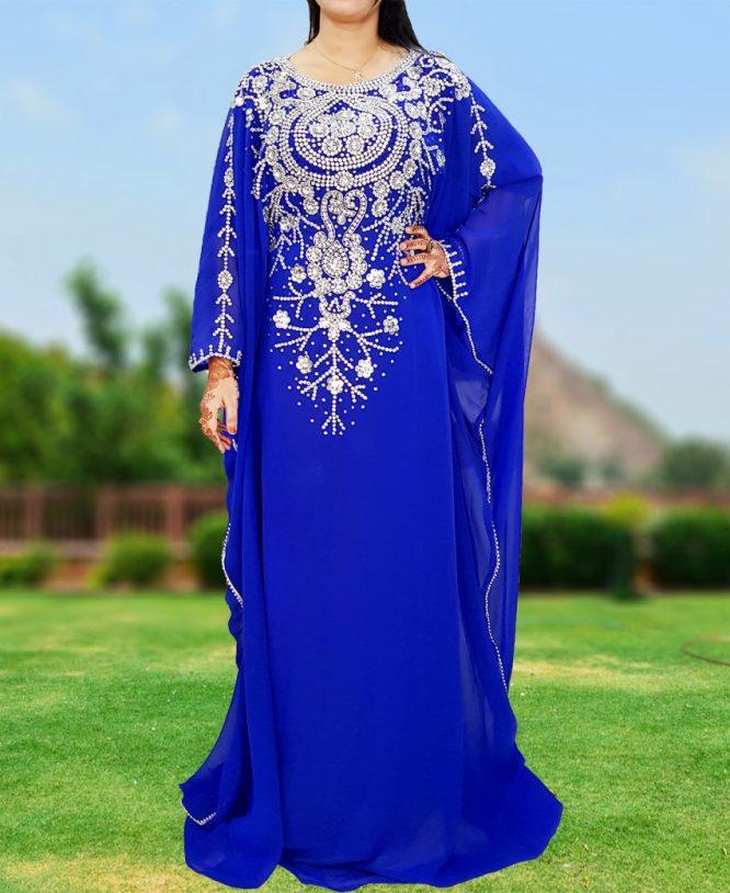 Premium Designer Crystal Beaded African Chiffon Farasa For Women