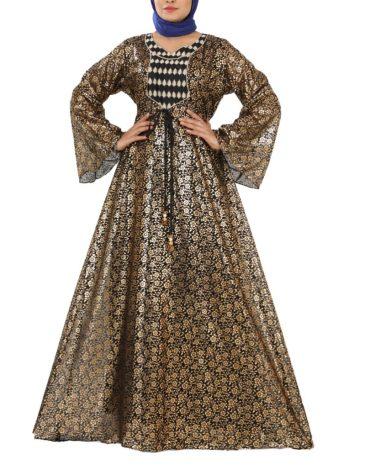 New Golden Print Designer Beautiful Morrocon Abaya Dress For Women