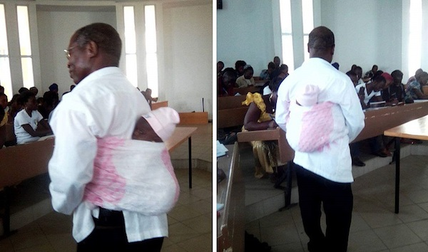 Ivory Coast University Professor helps a nursing mother writing exams by…