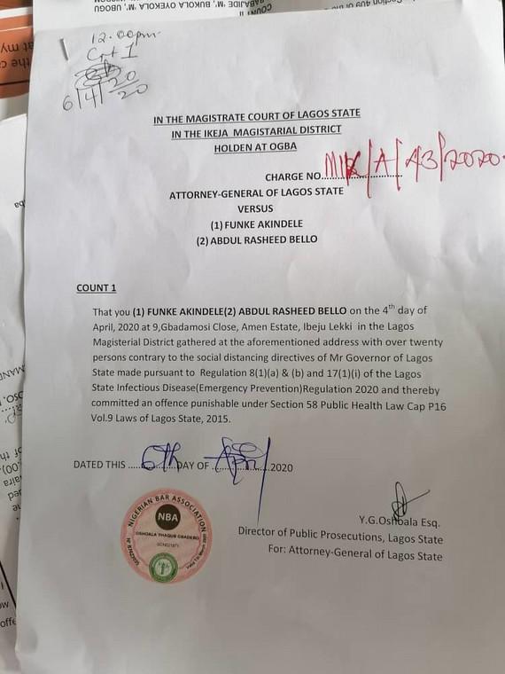 Funke Akindele arraigned in court