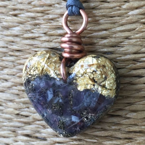 Small Heart Pendant Necklace - Amethyst & Imitation Gold Leaf
