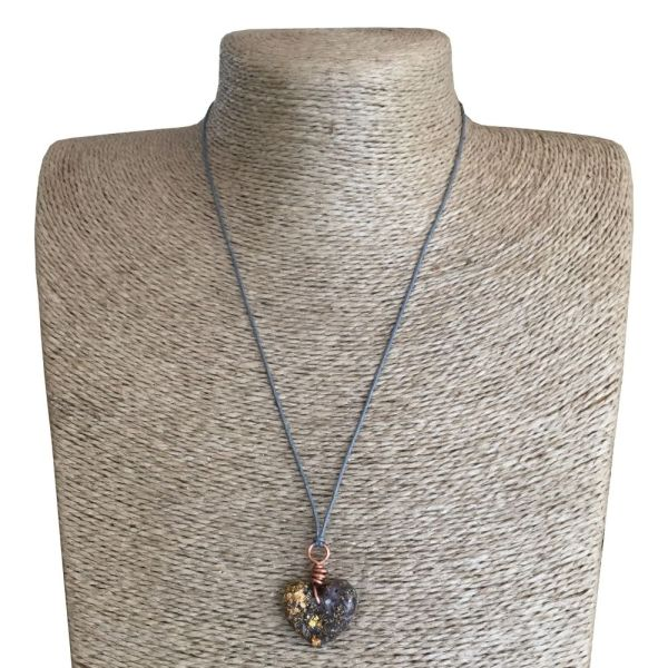Small Heart Pendant Necklace - Amethyst & Gold River Leaf