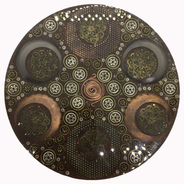 Orgonite Large Charging Plate with Clear Quartz and Alloy Metal Charms