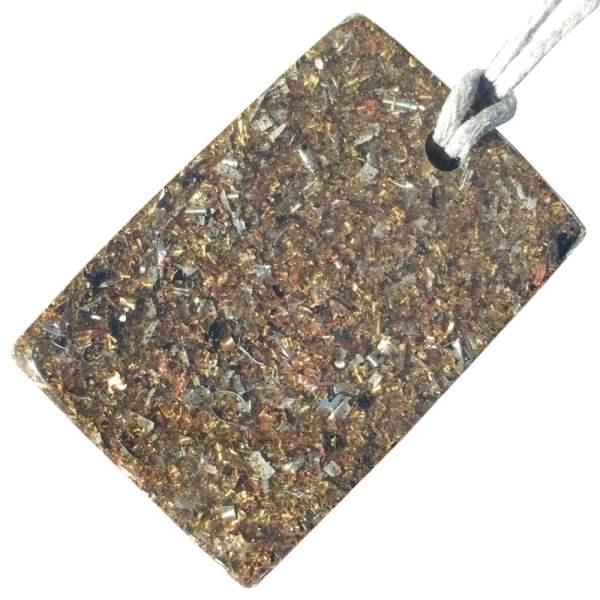 Orgonite Mini Rectangular Pendant Necklace containing Amethyst and Imitation Gold Leaf