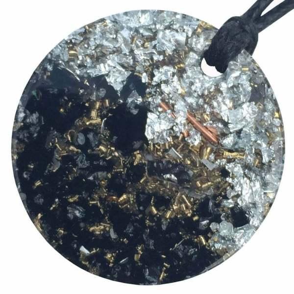 Orgonite Mini Round Pendant Necklace containing Black Tourmaline and Imitation Silver Leaf
