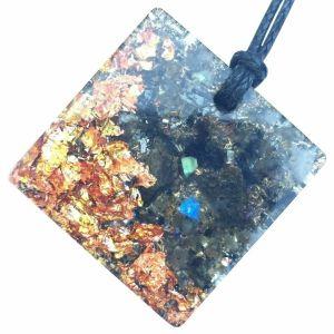 Orgonite Mini Square Pendant with Labradorite and Copper Starburst Leaf