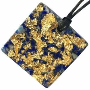 Orgonite Mini Square Pendant Necklace containing Lapis Lazuli and Imitation Gold Leaf