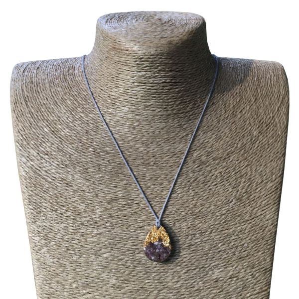 Orgonite Mini Teardrop Pendant Necklace containing Amethyst and Imitation Gold Leaf