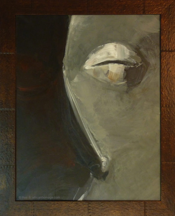 Painting, African mask, Pende, framed, African symbolic portrait, African Homage, Xea B.
