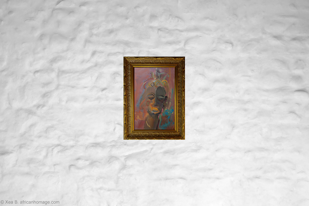 African Symbolic Portrait, painting, Xea B. ,framed, on a wall, Lulua