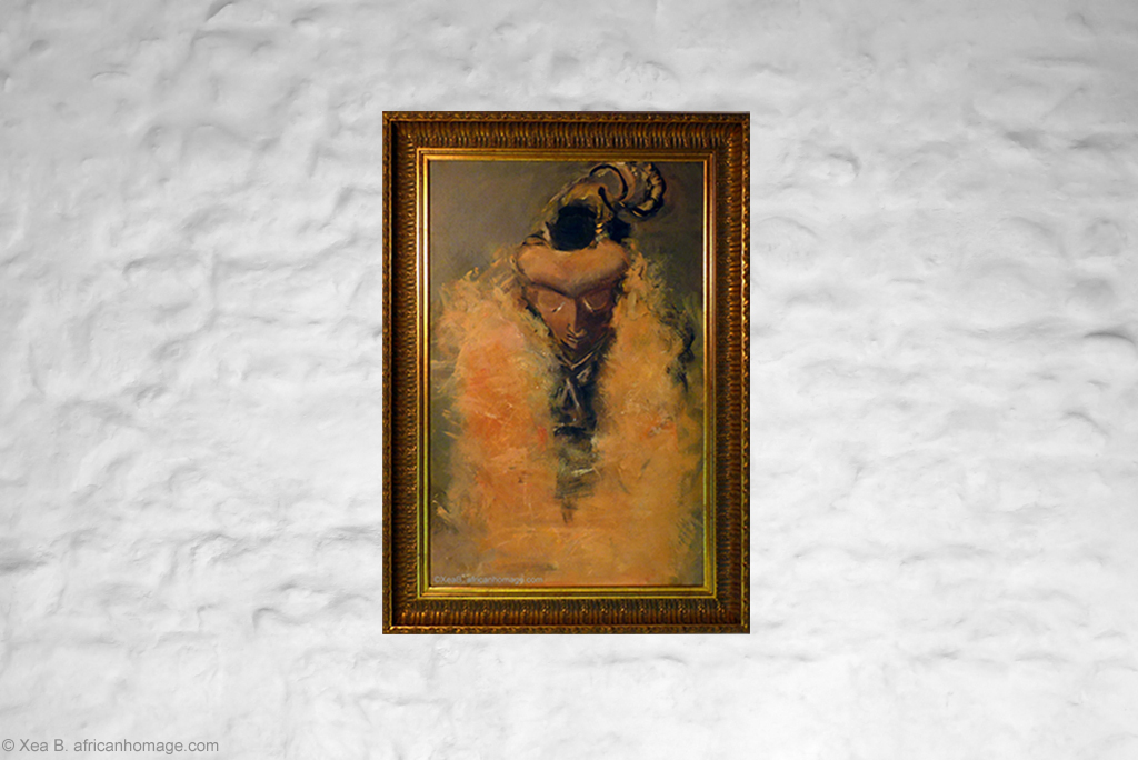Art, Painting, Oil on canvas, Pende Mbuya, mask, on a wall, framed.