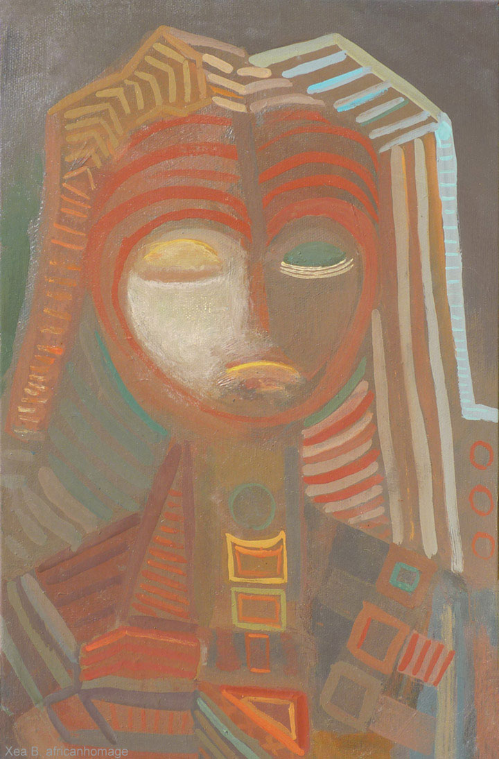 Fang chant, Painting, African symbolic portrait, art, Fang, Xea B.