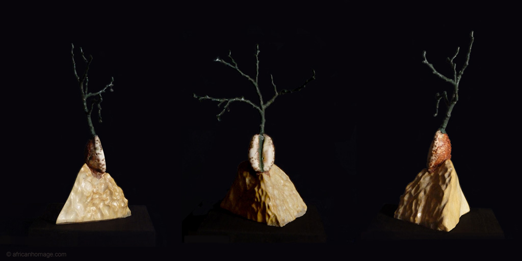 Sculpture Birth of a Baobab, left handside - front view - right handside