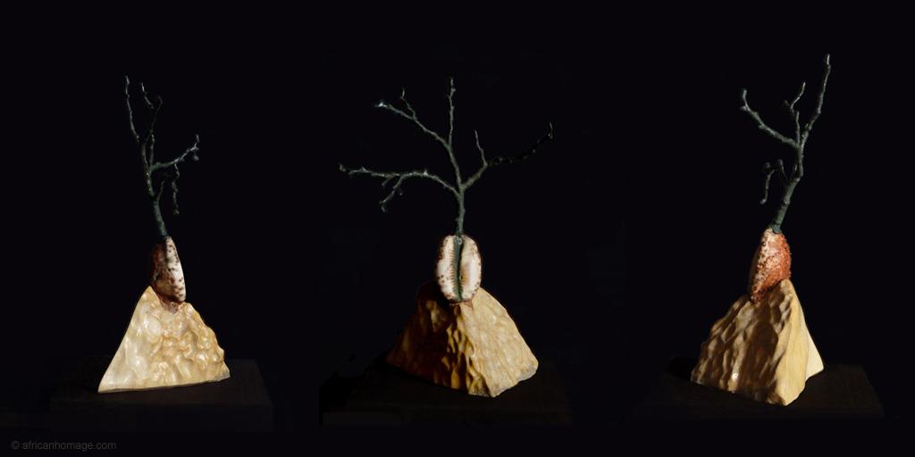 Sculpture Birth of a Baobab, left handside - front view - right handside
