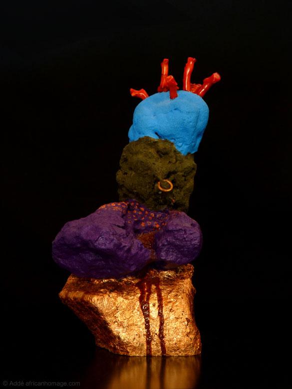 Sculpture, polychromy, Addé, The Bleeding Stone, Addé, African Homage