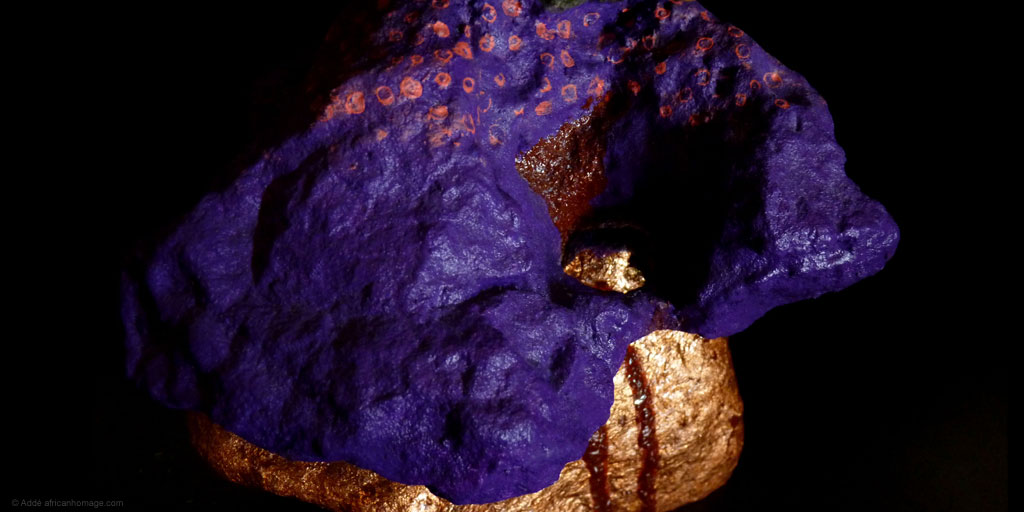 Sculpture, polychromy, The Bleeding Stone, Addé, African Homage