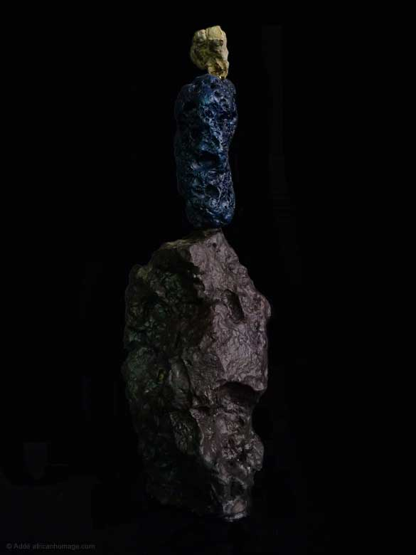 The Philosopher's  Rock,Painted Sculpture, sculptor Addé, African Homage
