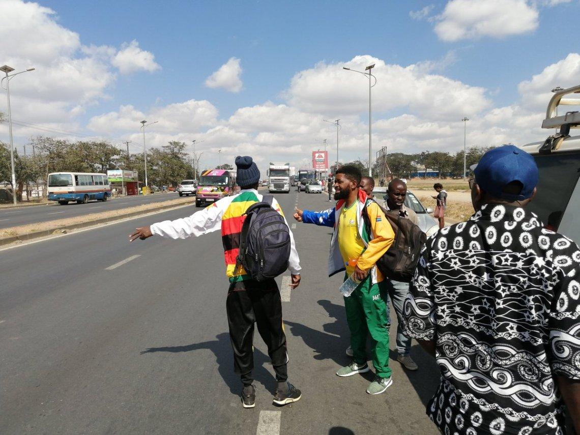 Botha en autostop au Zimbabwe