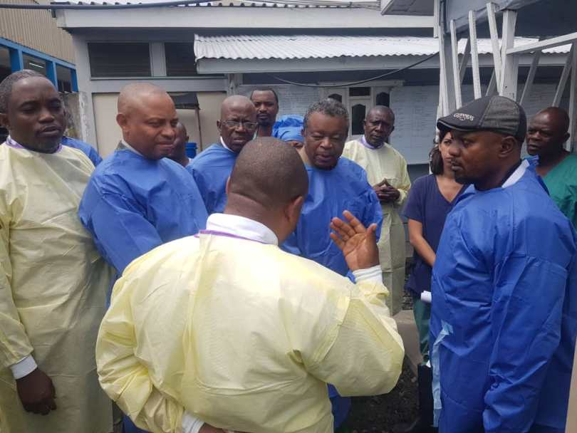 Dr Muyembe et les autorités venues en inspection, Cas-info,2019