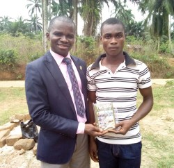 A newly baptized Lucky received Bible on Feb 18,2018