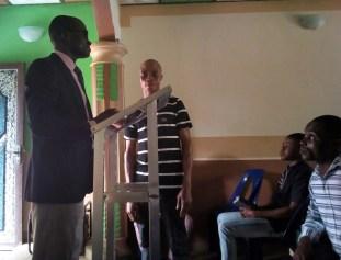 Mr Udoisong Ayama confessing Christ at Ikot Osute
