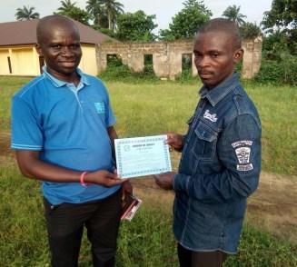 Ubokutom Luke received Baptismal Certificate from Mojima